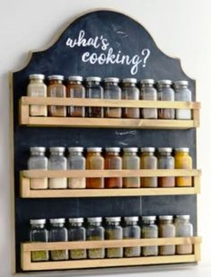 Free up your counters and cabinets with this beautiful wooden spice rack. It's t… Free up your counters and cabinets with this beautiful wooden spice rack. It's the perfect farmhouse kitchen decor and so easy to make. Wooden Spice Rack, Kitchen Spice Racks, Diy Spice Rack, Spice Storage, Diy Storage, Kitchen Storage, Storage Ideas, Wall Spice Rack, Spice Rack Plans