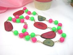 Pink and Green Tropical Necklace Single by AtticDustAntiques