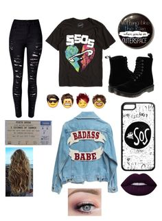 """5sos concert in July"" by tumblrcaniff96 ❤ liked on Polyvore featuring WithChic, Dr. Martens and Lime Crime"