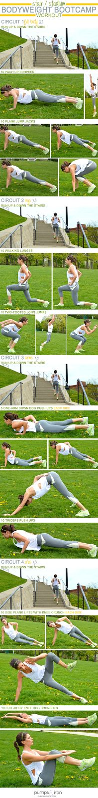 Workout Routines For The Gym : Stair/Stadium Bodyweight Bootcamp Workout. - All Fitness Fitness Workouts, Fitness Motivation, Sport Fitness, Fun Workouts, At Home Workouts, Health Fitness, Weight Workouts, Fitness Memes, Exercise Motivation