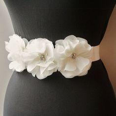 Ivory Bridal Sash, Wedding Belt, Bridal Belt, Wedding Accessories, Weddings, Bridal Accessories, Satin Ribbon, Ivory, Beaded, White. $85.00, via Etsy.