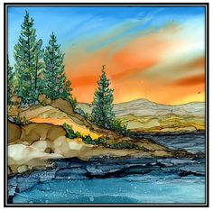This listing is a decoupage print of an alcohol ink painting on ceramic tile. The alcohol Ink painting is of a beautiful mountain lake. This