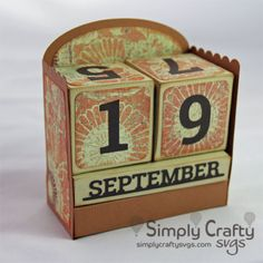 Make your own desk calendar with the Perpetual Calendar SVG File. Make this for yourself of give as a gift. Great co-worker desk gift too! #simplycraftysvgs