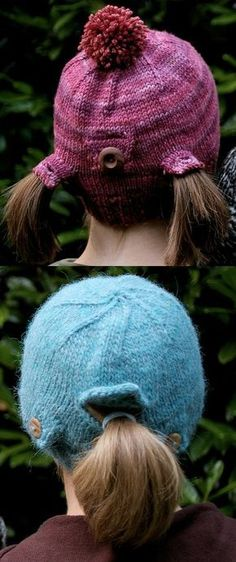 Free knitting pattern for Urban Homesteader Hat - I love this clever convertible hat from Christy Varner that fits any hairstyle! Open the middle flap for a ponytail, open the side flaps for pigtails or wear as a beanie for short hair. In child and adult sizes.