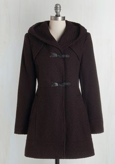 Guten Toggle Coat in Bordeaux. It's a given that you'll greet everyone chipperly after you fasten this lined-and-pocketed coat on your frame! #red #modcloth
