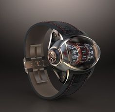 Je vous présente un projet personnel de concept watch qui se revendique du milieu hautement technologique de l'aéronautisme.J'ai opté pour un garde-temps original dont j'assume le design moderne, racé, les courbes innovantes et une lecture de l'heure trè…