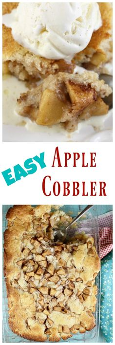 Easy Apple Cobbler Recipe just like Grandma would make! Get the recipe at MissintheKitchen.com