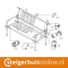 Werktekening (DIY) - Bank met leuning van steigerbuis