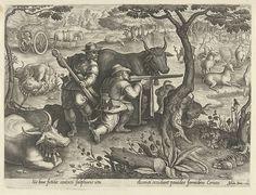 Philips Galle   Hertenjacht met behulp van camouflage, Philips Galle, 1578   Twee jagers verschuilen zich achter een nep-koe. Met hun geweren proberen ze jacht te maken op een groep herten die aan de oever van een vijver zitten. De prent heeft een Latijns onderschrift en maakt deel uit van een 43-delige serie over de jacht.