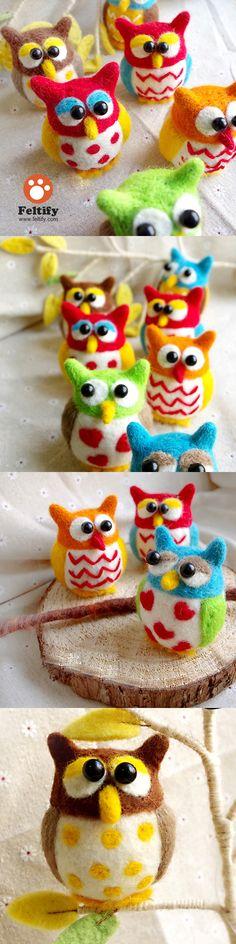 Needle Felted Felting Animals Colorful Owls Cute Craft