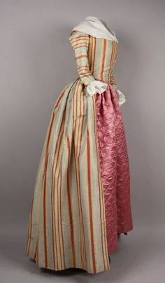 Robe à l'Anglaise, Striped blue, yellow and pink silk, lined with glazed linen, paired with a mauve quilted petticoat. 18th Century Dress, 18th Century Costume, 18th Century Clothing, 18th Century Fashion, Antique Clothing, Historical Clothing, Larp, Vintage Dresses, Vintage Outfits