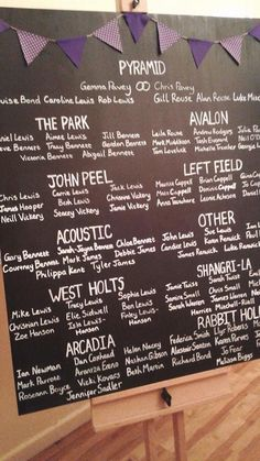 Wedding tables named after Glastonbury stages