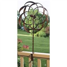 Copper Plated Metal Spinning Yard Garden Deck Rail Ornament Wind Spinner