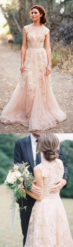Long Wedding Dresses, Tulle Wedding dresses, Sexy Wedding Dresses, Champagne Wedding Dresses, Bridal Wedding Dresses, Sexy Long Dresses, Long Sexy Dresses, V-Neck Wedding Dresses, Champagne V-Neck Wedding Dresses, Sexy V-neck Wedding Dresses A-line Appliques Tulle Bridal Gown