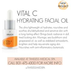New to the Vital C line from Image Skincare is this ultra lightweight, nourishing Hydrating Facial Oil for sensitive skin. | Vitamin C skin care | Sold at TimeLess Medical Spa in South Ogden, Utah | 801-475-4300