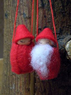 Santa & Mrs. Claus Wool Ornaments