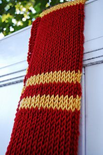 This Gryffindor scarf is worked in the tunisian crochet knit stitch. Colors are provided for other house scarves as well.