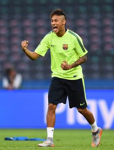 Neymar of Barcelona gestures during an FC Barcelona training session on the eve of the UEFA Champions League Final match against Juventus at Olympiastadion on June 5, 2015 in Berlin, Germany.