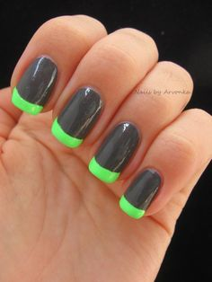 Awesome neon and grey nails. Twist on the French manicure.