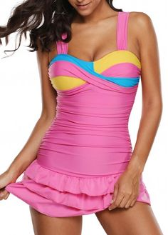 Ruched Layered Cutout Back One Piece Swimdress | Rosewe.com - USD $30.38