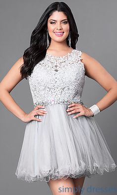Shop short plus-size party dresses with lace bodices at Simply Dresses. Semi-formal dresses under $150 with jeweled waistbands and tulle skirts.