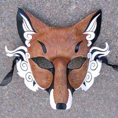 Japanese Red Fox Mask... Inari Kitsune ...handmade leather fox mask