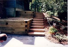 Timber Retaining Wall & Steps in Massachusetts by Manning Tree & Landscape, Inc. Timber Retaining Wall & Step Construction in Acton, MA Retaining Wall Cost, Wooden Retaining Wall, Railroad Tie Retaining Wall, Wooden Walkways, Landscaping Retaining Walls, Driveway Landscaping, Outdoor Landscaping, Landscaping Ideas, Front Yard Walkway
