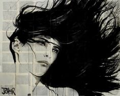 Drawings - Pen & Ink Expressions on Bookart Pages by Loui Jover. Lovely images captured on book pages.  More Information and more of these Images, Press the Image.
