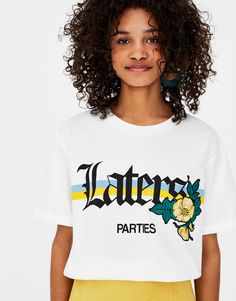 Slogan and patch T-shirt - Slogan - T-shirts - Clothing - Woman - PULL&BEAR Turkey