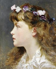 Sophie Anderson (British, 1823-1903)A young girl with a garland of flowers in her hair