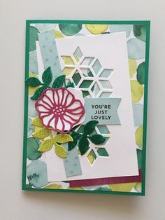 You're Just Lovely Card • Emerald Envy base 8 1/4 x 5 3/4 • Naturally Eclectic DSP 5 1/2 x 3 7/8 • Whisper White 4 3/4 x 3 • Soft Sky strip 4 7/8 x 9/16 • Pink strip of Naturally Eclectic DSP 2 3/8 x 7/16 • Berry Burst card flower • Sentiment, leaves, footprints from Oh So Eclectic stamp set in Emerald Envy, Lemon Lime Twist, Soft Sky and Early Espresso Inks • Eclectic Layers Thinlits • Stampin' Up!