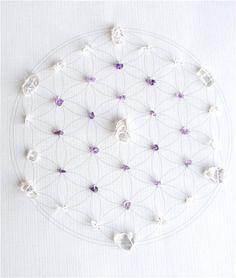 WALL ART Feng Shui guérison améthyste artisan de lumière de cristal grille (fleur de la géométrie sacrée de la vie)