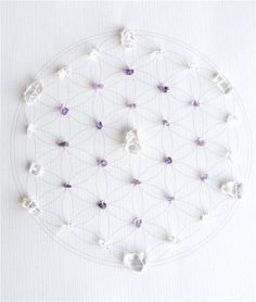 WALL ART Feng Shui Healing Crystal Grid (Flower of Life Sacred Geometry) Lightworker Amethyst