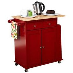 Alcott Hill Ferraro Kitchen Cart with Wooden Top Base Finish: Red Steel Furniture, Cheap Furniture, Kitchen Furniture, Furniture Making, Furniture Websites, Furniture Movers, Pallet Furniture, Furniture Nyc, Office Furniture