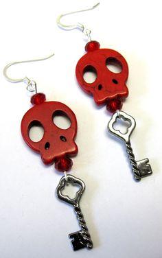 Red Sugar Skull Earrings by sweetie2sweetie on Etsy, $6.99