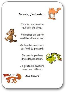 Comptines illustrées sur le corps et les cinq sens à imprimer. Comptine sur les 5 sens Je vois, j'entends French Kids, French Class, French Lessons, Elementary Science, Teaching Science, Kindergarten Activities, Classroom Activities, French Poems, French Nursery