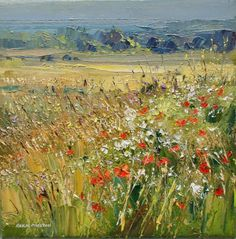 British Artist Rex Preston - Edge of a Barley Field, Norfolk Coast Abstract Landscape Painting, Landscape Art, Landscape Paintings, Nature Paintings, Beautiful Paintings, Wow Art, Impressionist Paintings, Country Art, Artist Art