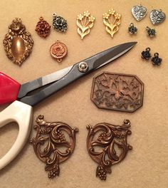 Work Table Wednesday 3/28/18  Ain't No Party Like A Floral Party! With B'Sue Boutiques large brass stamping (altered with metal shears shown), B'Sue By 1928 pewter drops and connectors in three gorgeous platings, and vintage brass stampings from bsueboutiquesupplies Etsy shop.
