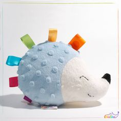 Stuffed animal hedgehog in blue with by PetitLoulouBabyShop