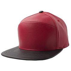 Red Black-NEW Plain Flat Bill Faux Leather Snapback Panel Hat Baseball Cap  Hip b4e8e5887060