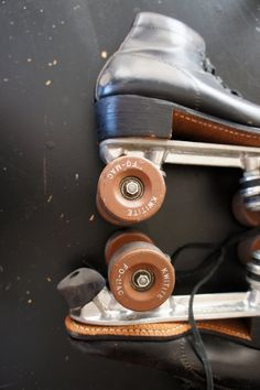 Vintage Black Leather Roller Skates