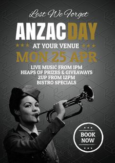 Create an event flyer or poster for Anzac Day or Australia Day without the need for a graphic designer. Check out the huge range of professionally pre-designed posters, flyers and social media graphics that you can update yourself, in minutes. Prize Giveaway, Anzac Day, Australia Day, Lest We Forget, Social Media Graphics, Live Music, Lineup, Promotion, Templates