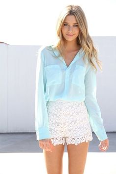 @roressclothes clothing ideas #women fashion cyan blouse, white lace shorts