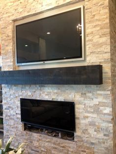 Modern Stone Fireplaces media wall designs | modern stone & fireplace media wall | stone
