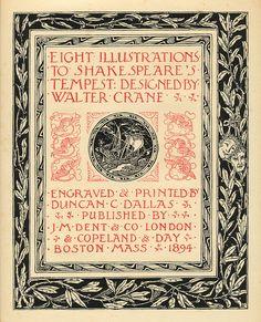 ウォルター・クレイン Title page, Shakespeare's Tempest, illustrations by Walter Crane, 1894