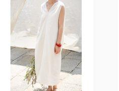 Cream white linen v neck tank dress summer dress by BonLife
