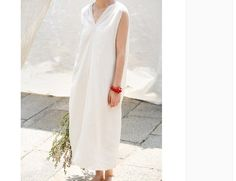 Cream white linen v neck tank dress summer dress by BonLife