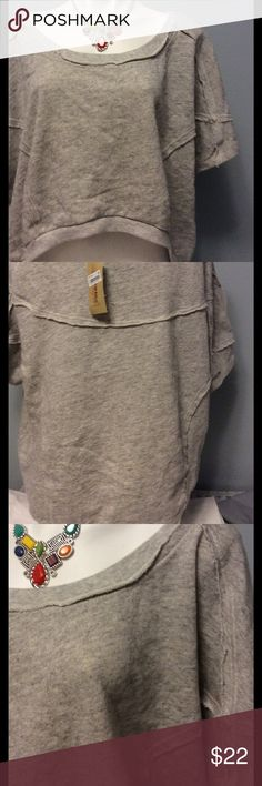 NWT American Rag Crop Sweat Shirt NWT size XL sweat shirt by American Rag. Heather Grey colored.  Never worn. Cropped in front and longer in the back.  Necklace not included. American Rag Tops Sweatshirts & Hoodies