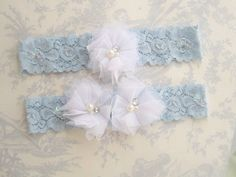 Blue Bridal Garter Wedding Garter Set with Toss by nanarosedesigns, $15.00