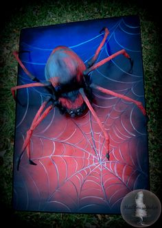 3d spider cake for superhero party by MadHouse Bakes